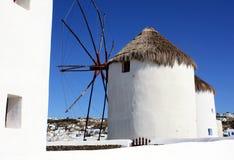 Molino de viento de Mykonos Imagenes de archivo