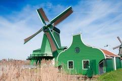 Molino de viento de Zaanse Schans, Netherland Imagen de archivo libre de regalías