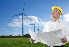 Molino de viento del plan del ingeniero mayor del arquitecto de la maestría imágenes de archivo libres de regalías