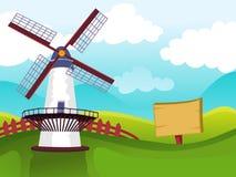 Molino de viento en campo ilustración del vector