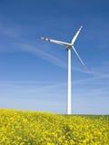 Molino de viento en campo amarillo Imágenes de archivo libres de regalías