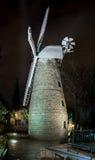 Molino de viento en la noche, Jerusalén de Montefiore Imagen de archivo libre de regalías