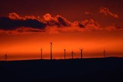 Molino de viento en la salida del sol temprana Fotografía de archivo libre de regalías