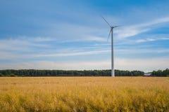 Molino de viento en paisaje con el campo de trigo amarillo, el bosque y la casa roja en el fondo Cielo azul espectacular dramátic Foto de archivo