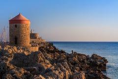 Molino de viento en Rhodes Greece Imágenes de archivo libres de regalías