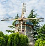 Molino de viento fabuloso en el parque fotografía de archivo libre de regalías