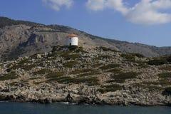 Molino de viento griego en la isla de Symi Foto de archivo libre de regalías