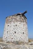 Molino de viento griego viejo en la isla de Kos Fotografía de archivo