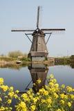 molino de viento holandés reflejado   Imagenes de archivo
