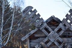 Molino de viento de madera tradicional antiguo Cuchilla de un molino de madera Imagenes de archivo