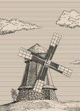 Molino de viento viejo Foto de archivo libre de regalías