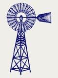 Molino de viento viejo. Estilo del Doodle