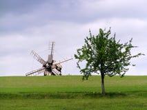 Molino de viento y árbol Foto de archivo