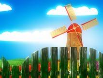 Molino de viento y paisaje del verano ilustración del vector