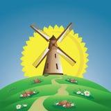 Molino de viento y Sun stock de ilustración