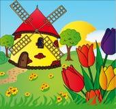 Molino de viento y tulipanes Imagen de archivo
