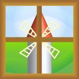 Molino de viento y ventana (vector) Imágenes de archivo libres de regalías