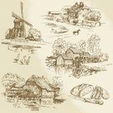 Molino de viento y watermill Fotos de archivo libres de regalías