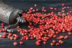 Molino viejo de la amoladora de pimienta con diversas pimientas secadas Imagen de archivo