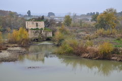 Molino viejo. Old abandoned middle of the river Guadalquivir and the ALBOLAFIA soto, dnia cloudy and gray mill Royalty Free Stock Images