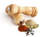 Molino y especias de pimienta Fotos de archivo