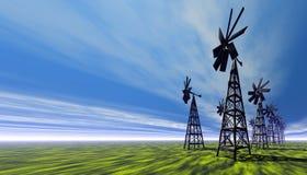 Molinoes de viento stock de ilustración
