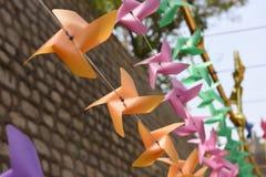 Molinoes de viento amarillos Foto de archivo libre de regalías