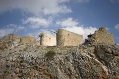 Molinoes de viento antiguos de Crete foto de archivo