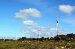 Molinoes de viento cerca de Essaouira Marruecos Fotografía de archivo
