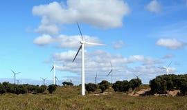 Molinoes de viento cerca de Essaouira Marruecos Imagenes de archivo