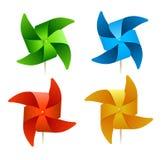 Molinoes de viento coloridos del vector Fotos de archivo libres de regalías