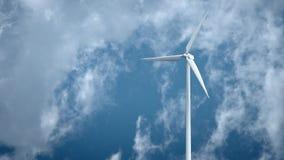 Molinoes de viento con el cielo azul en la representación del fondo 3d metrajes