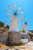 Molinoes de viento. Creta, Grecia fotografía de archivo