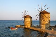 Molinoes de viento de Chios Fotos de archivo libres de regalías