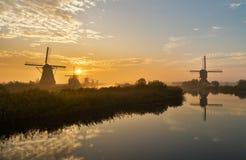 Molinoes de viento de Kinderdijk Imágenes de archivo libres de regalías