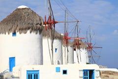 Molinoes de viento de la isla de Mykonos Fotos de archivo