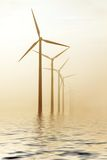 Molinoes de viento de la mañana Foto de archivo libre de regalías