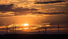 Molinoes de viento de la puesta del sol Imagen de archivo libre de regalías