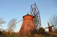 Molinoes de viento de madera Foto de archivo libre de regalías
