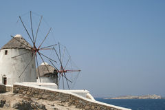 Molinoes de viento de Mykonos Foto de archivo