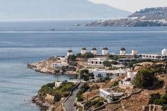 Molinoes de viento de Mykonos Foto de archivo libre de regalías