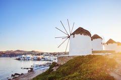Molinoes de viento de Mykonos Fotos de archivo