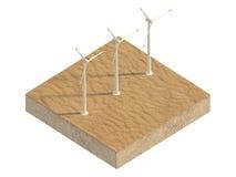 Molinoes de viento del desierto en una parcela de tierra Imágenes de archivo libres de regalías