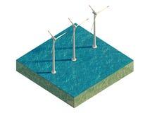 Molinoes de viento del mar en una parcela de tierra aislada en blanco Imagen de archivo