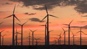 Molinoes de viento del poder en el desierto de California en la puesta del sol