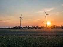 Molinoes de viento eléctricos en un campo durante puesta del sol Fotografía de archivo