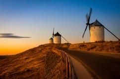 Molinoes de viento en Consuegra Foto de archivo