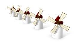 Molinoes de viento en el fondo blanco stock de ilustración