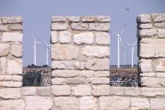 Molinoes de viento en Kaliakra Fotografía de archivo libre de regalías