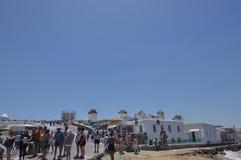 Molinoes de viento en la isla de Chora de Mykonos Arte History Architecture foto de archivo libre de regalías